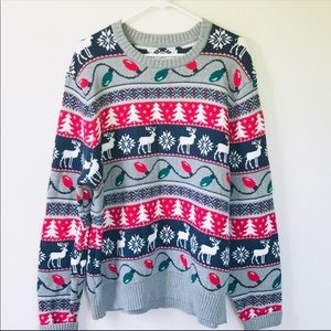 Ugly Christmas Sweater Gray Red Knit  Men's XL